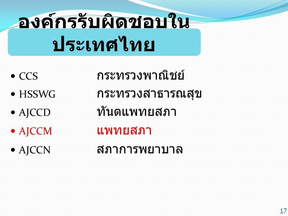 องค์กรรับผิดชอบใน ประเทศไทย CCS กระทรวงพาณิชย์ HSSWG กระทรวงสาธารณสุข AJCCD ทันตแพทยสภา AJCCM แพทยสภา AJCCN สภาการพยาบาล 17