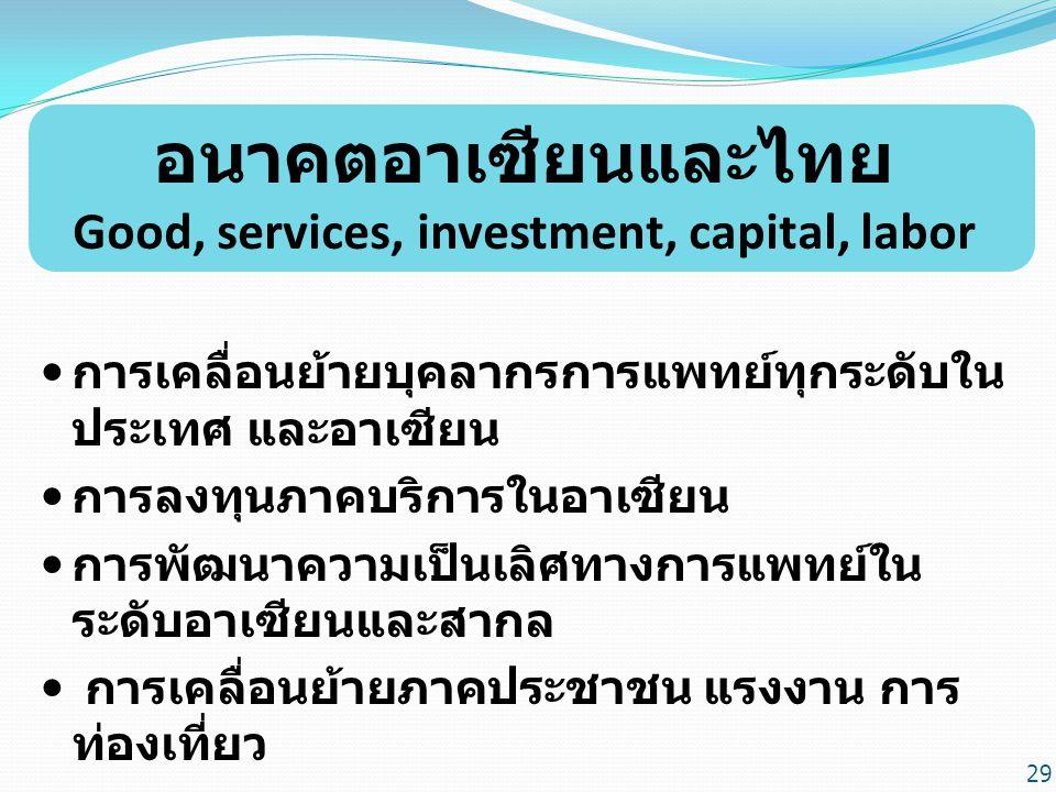 อนาคตอาเซียนและไทย Good, services, investment, capital, labor การเคลื่อนย้ายบุคลากรการแพทย์ทุกระดับใน ประเทศ และอาเซียน การลงทุนภาคบริการในอาเซียน การพัฒนาความเป็นเลิศทางการแพทย์ใน ระดับอาเซียนและสากล การเคลื่อนย้ายภาคประชาชน แรงงาน การ ท่องเที่ยว 29