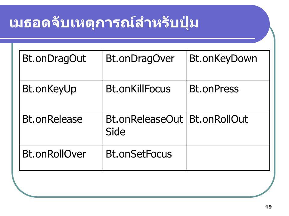 19 เมธอดจับเหตุการณ์สำหรับปุ่ม Bt.onDragOutBt.onDragOverBt.onKeyDown Bt.onKeyUpBt.onKillFocusBt.onPress Bt.onReleaseBt.onReleaseOut Side Bt.onRollOut Bt.onRollOverBt.onSetFocus