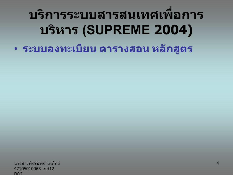 นางสาวพัชรินทร์ เหล็กดี 47105010063 ed12 B06 4 บริการระบบสารสนเทศเพื่อการ บริหาร (SUPREME 2004) ระบบลงทะเบียน ตารางสอน หลักสูตร