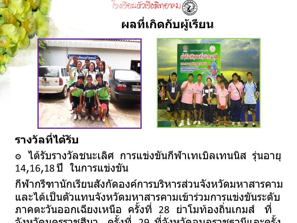รางวัลที่ได้รับ ๏ ได้รับรางวัลชนะเลิศ การแข่งขันกีฬาเทเบิลเทนนิส รุ่นอายุ 14,16,18 ปี ในการแข่งขัน กีฬากรีฑานักเรียนสังกัดองค์การบริหารส่วนจังหวัดมหาสารคาม และได้เป็นตัวแทนจังหวัดมหาสารคามเข้าร่วมการแข่งขันระดับ ภาคตะวันออกเฉียงเหนือ ครั้งที่ 28 ย่าโมท้องถิ่นเกมส์ ที่ จังหวัดนครราชสีมา ครั้งที่ 29 ที่จังหวัดอุบลราชธานีและครั้ง ที่ 30 ที่จังหวัดชัยภูมิ ผลที่เกิดกับผู้เรียน