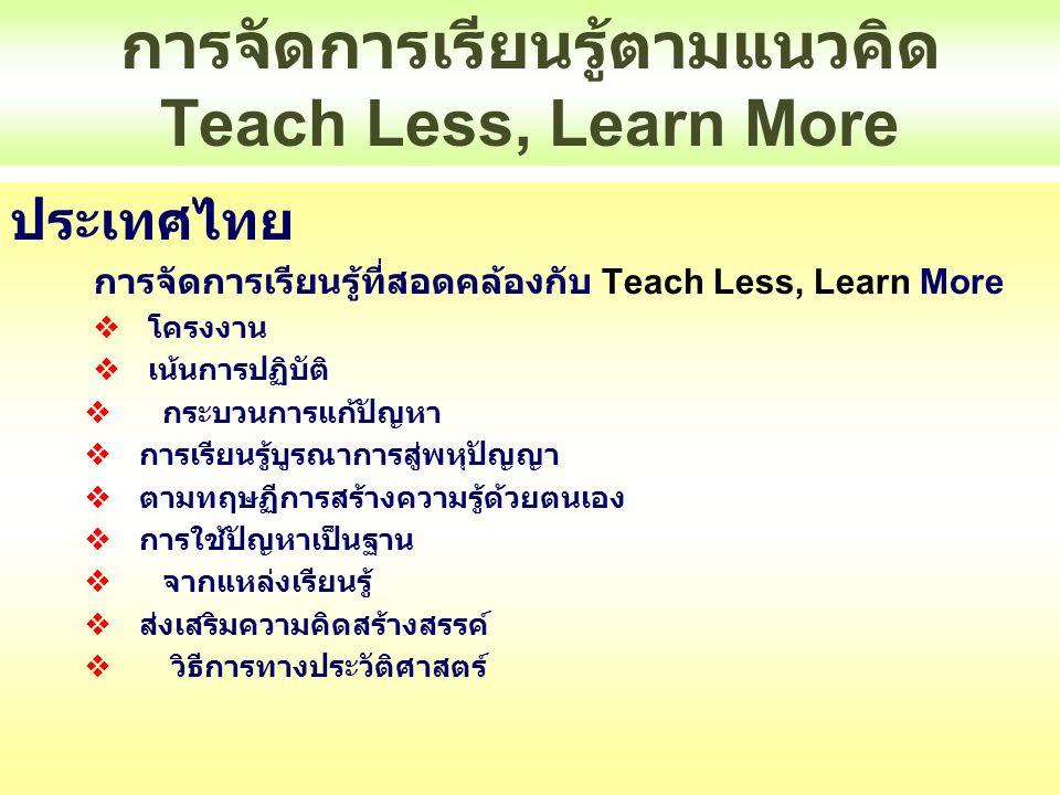การจัดการเรียนรู้ตามแนวคิด Teach Less, Learn More ประเทศไทย การจัดการเรียนรู้ที่สอดคล้องกับ Teach Less, Learn More  โครงงาน  เน้นการปฏิบัติ  กระบวน