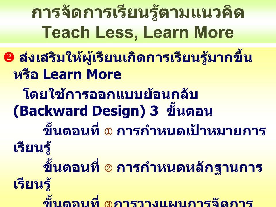การจัดการเรียนรู้ตามแนวคิด Teach Less, Learn More ประเทศไทย หลักสูตร 51 สอดคล้องกับ Teach Less, Learn More  หลักสูตรอิงมาตรฐาน  ตัวชี้วัดเป็นพฤติกรรมเน้น การคิด  ตัวชี้วัดส่วนมากเด็กต้อง ปฏิบัติจริง