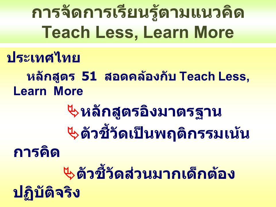 การจัดการเรียนรู้ตามแนวคิด Teach Less, Learn More หลักสูตร 51 ตัวชี้วัดเป็นพฤติกรรมเน้นการคิด  ศ 1.1 ป 4/1 เปรียบเทียบรูปลักษณะของ รูปร่าง รูปทรงในธรรมชาติ สิ่งแวดล้อมและงานทัศนศิลป์  ศ 1.1 ป 4/2 อภิปรายเกี่ยวกับอิทธิพลของสี วรรณะอุ่น วรรณะเย็น ที่มีต่ออารมณ์ของมนุษย์