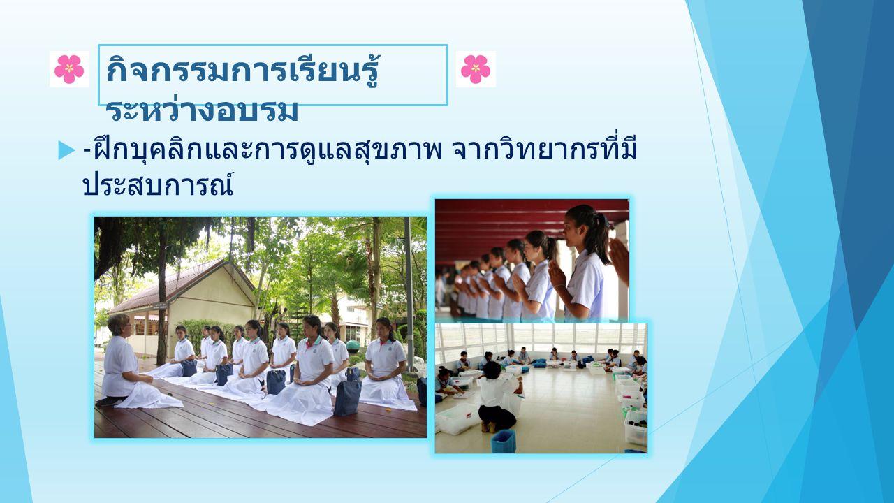  - ฝึกรักษาศีล ๘ อยู่ร่วมกันอย่างมีความสุขด้วยบท ฝึก ความดีสากล ผ่าน ๕ห้องชีวิตเนรมิตนิสัย ซึ่ง สามารถใช้ได้ในชีวิตประจำวัน กิจกรรมการเรียนรู้ ระหว่างอบรม