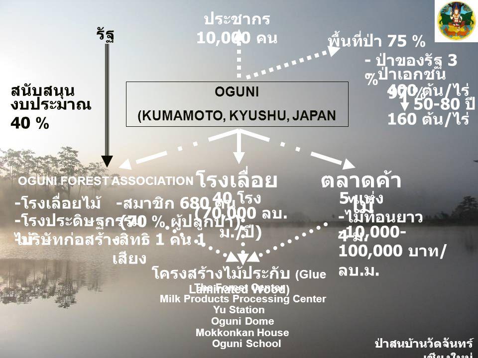 ป่าสนบ้านวัดจันทร์ เชียงใหม่ - ป่าของรัฐ 3 % - ป่าเอกชน 97 % OGUNI (KUMAMOTO, KYUSHU, JAPAN รัฐ งบประมาณ 40 % สนับสนุน ประชากร 10,000 คน พื้นที่ป่า 75 % โรงเลื่อย 40 โรง (70,000 ลบ.