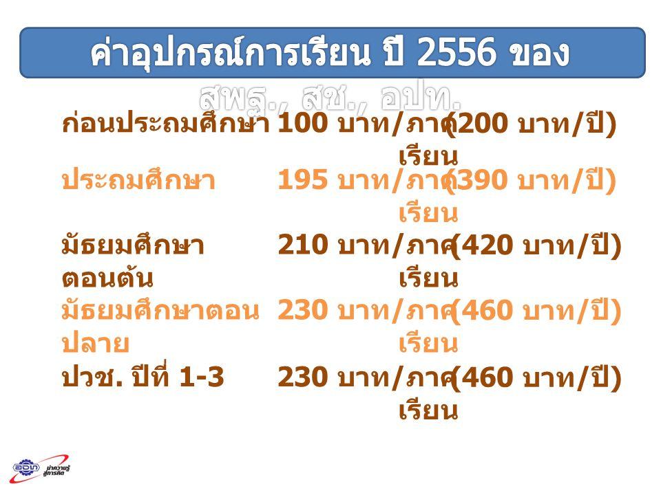 ก่อนประถมศึกษา 100 บาท / ภาค เรียน (200 บาท / ปี ) ประถมศึกษา 195 บาท / ภาค เรียน (390 บาท / ปี ) มัธยมศึกษา ตอนต้น 210 บาท / ภาค เรียน (420 บาท / ปี