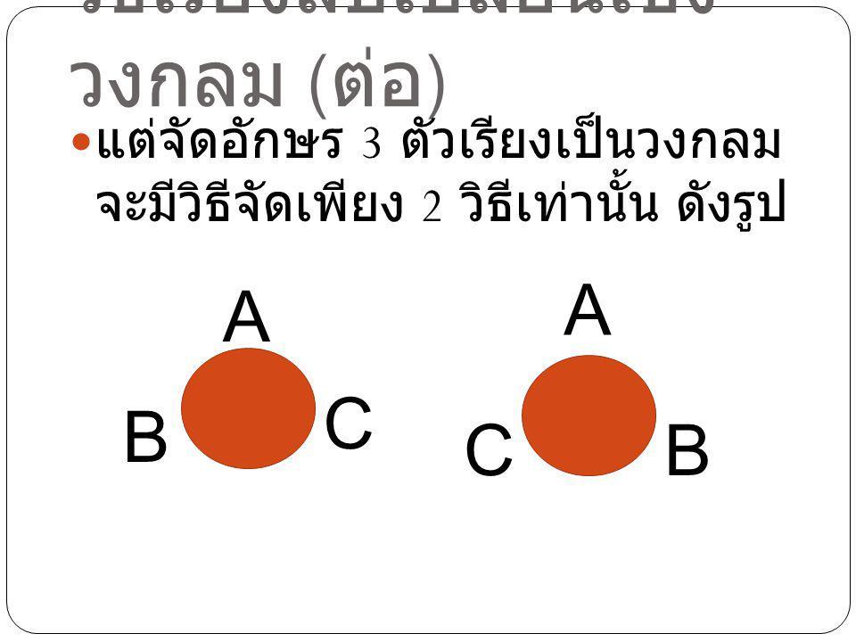 วิธีเรียงสับเปลี่ยนเชิง วงกลม ( ต่อ ) แต่จัดอักษร 3 ตัวเรียงเป็นวงกลม จะมีวิธีจัดเพียง 2 วิธีเท่านั้น ดังรูป A B C A CB