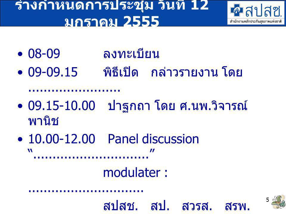 ร่างกำหนดการประชุม วันที่ 12 มกราคม 2555 08-09 ลงทะเบียน 09-09.15 พิธีเปิด กล่าวรายงาน โดย........................ 09.15-10.00 ปาฐกถา โดย ศ. นพ. วิจาร