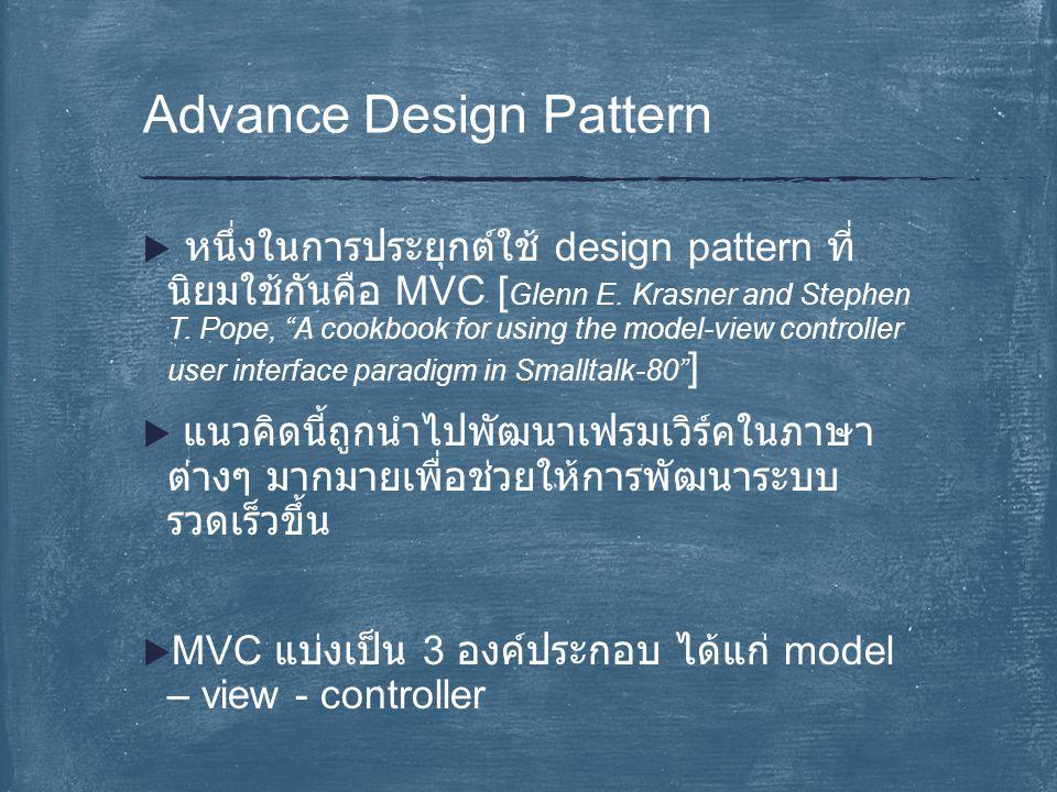 """ หนึ่งในการประยุกต์ใช้ design pattern ที่ นิยมใช้กันคือ MVC [ Glenn E. Krasner and Stephen T. Pope, """"A cookbook for using the model-view controller u"""