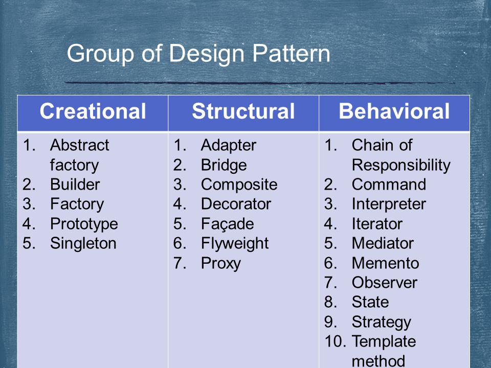  จัดกลุ่มตามความสัมพันธ์ของการสร้างวัตถุ หรือคลาส  Design pattern ที่ใช้บ่อยในกลุ่มนี้ Factory Pattern Singleton Pattern Creational Design Patterns