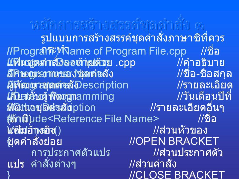 รูปแบบการสร้างสรรค์ชุดคำสั่งภาษาซีที่ควร กระทำ การประกาศตัวแปร // ส่วนประกาศตัว แปร คำสั่งต่างๆ // ส่วนคำสั่ง Void main() // ส่วนหัวของ ชุดคำสั่งย่อย { //OPEN BRACKET } //CLOSE BRACKET //Program : Name of Program File.cpp // ชื่อ แฟ้มชุดคำสั่งลงท้ายด้วย.cpp //Program Description // คำอธิบาย ลักษณะงานของชุดคำสั่ง //Programmer Name // ชื่อ - ชื่อสกุล ผู้พัฒนาชุดคำสั่ง //Programmer Description // รายละเอียด เกี่ยวกับผู้พัฒนา //Date of Programming // วันเดือนปีที่ พัฒนาชุดคำสั่ง //Other Description // รายละเอียดอื่นๆ ( ถ้ามี ) #include // ชื่อ แฟ้มอ้างอิง