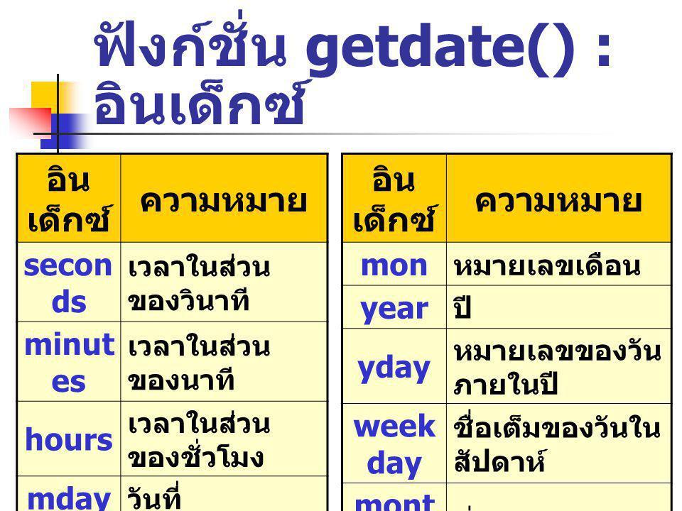 ฟังก์ชั่น getdate() : อินเด็กซ์ อิน เด็กซ์ ความหมาย secon ds เวลาในส่วน ของวินาที minut es เวลาในส่วน ของนาที hours เวลาในส่วน ของชั่วโมง mday วันที่