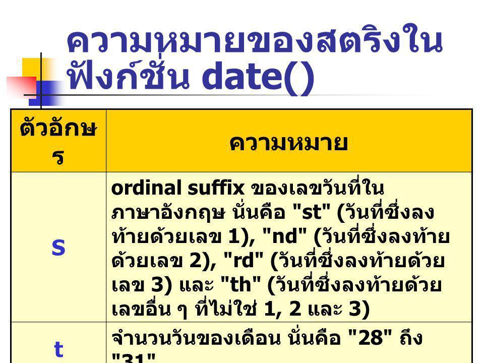 ความหมายของสตริงใน ฟังก์ชั่น date() ตัวอักษ ร ความหมาย S ordinal suffix ของเลขวันที่ใน ภาษาอังกฤษ นั่นคือ