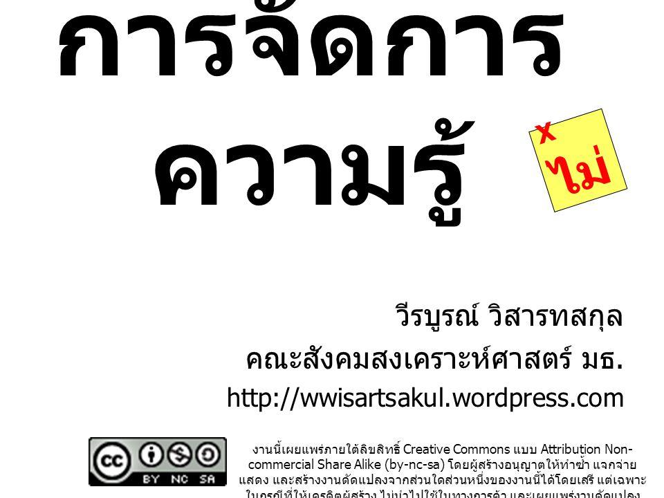 การจัดการ ความรู้ วีรบูรณ์ วิสารทสกุล คณะสังคมสงเคราะห์ศาสตร์ มธ. http://wwisartsakul.wordpress.com งานนี้เผยแพร่ภายใต้ลิขสิทธิ์ Creative Commons แบบ