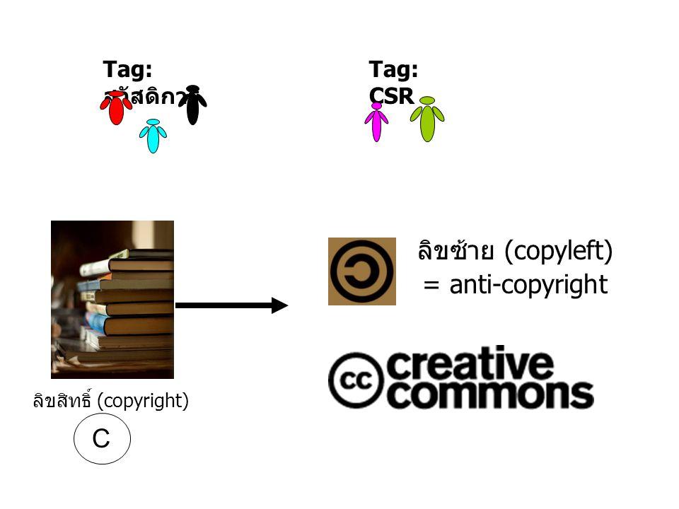 Tag: สวัสดิการ Tag: CSR ลิขสิทธิ์ (copyright) ลิขซ้าย (copyleft) = anti-copyright C