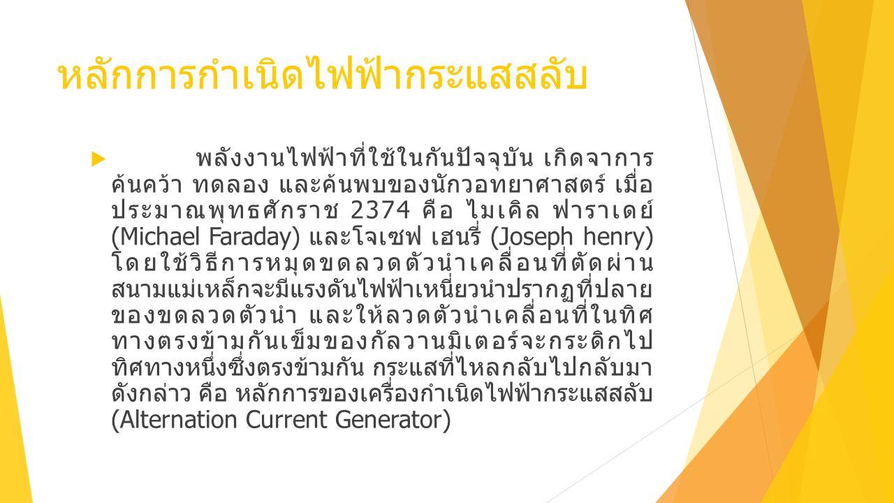 หลักการกำเนิดไฟฟ้ากระแสสลับ  พลังงานไฟฟ้าที่ใช้ในกันปัจจุบัน เกิดจาการ ค้นคว้า ทดลอง และค้นพบของนักวอทยาศาสตร์ เมื่อ ประมาณพุทธศักราช 2374 คือ ไมเคิล ฟาราเดย์ (Michael Faraday) และโจเซฟ เฮนรี่ (Joseph henry) โดยใช้วิธีการหมุดขดลวดตัวนำเคลื่อนที่ตัดผ่าน สนามแม่เหล็กจะมีแรงดันไฟฟ้าเหนี่ยวนำปรากฏที่ปลาย ของขดลวดตัวนำ และให้ลวดตัวนำเคลื่อนที่ในทิศ ทางตรงข้ามกันเข็มของกัลวานมิเตอร์จะกระดิกไป ทิศทางหนึ่งซึ่งตรงข้ามกัน กระแสที่ไหลกลับไปกลับมา ดังกล่าว คือ หลักการของเครื่องกำเนิดไฟฟ้ากระแสสลับ (Alternation Current Generator)