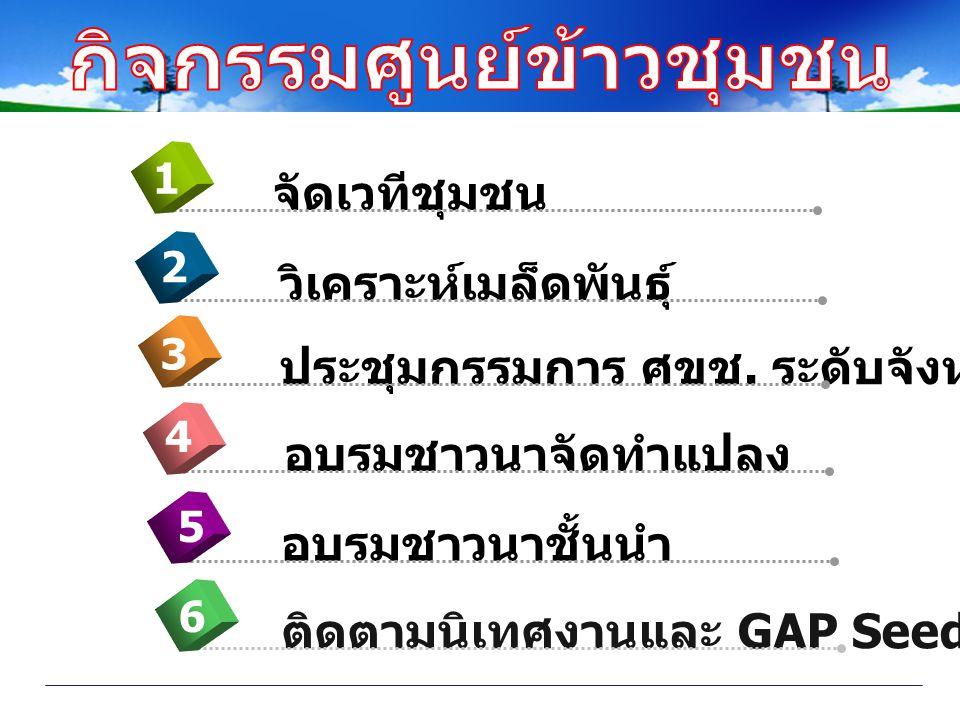 อบรมชาวนาจัดทำแปลง 4 จัดเวทีชุมชน 1 วิเคราะห์เมล็ดพันธุ์ 2 ประชุมกรรมการ ศขช. ระดับจังหวัด 3 อบรมชาวนาชั้นนำ 5 ติดตามนิเทศงานและ GAP Seed 6