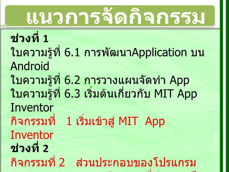 แนวการจัดกิจกรรม กิจกรรมที่ 1 เริ่มเข้าสู่ MIT App Inventor MIT App Inventor คืออะไร การติดตั้ง App Inventor การติดตั้ง Java กิจกรรมที่ 2 ส่วนประกอบของ โปรแกรม MIT App Inventor องค์ประกอบ MIT App Inventor ส่วน design ส่วน Blocks Editer กิจกรรมที่ 3 การฝึกปฏิบัติการสร้าง App ฝึกสร้าง Application : Animal sound