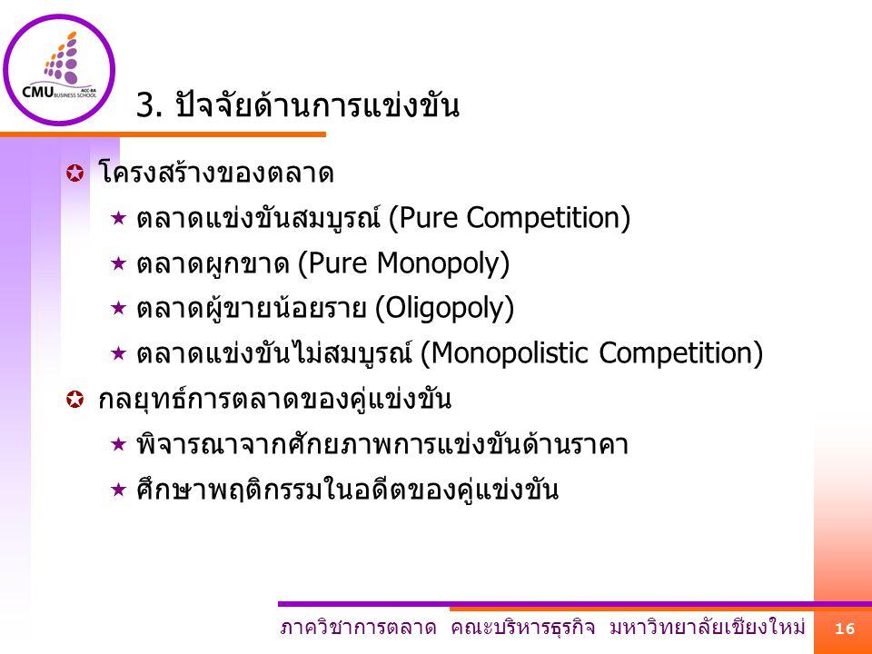 ภาควิชาการตลาด คณะบริหารธุรกิจ มหาวิทยาลัยเชียงใหม่ 16 3. ปัจจัยด้านการแข่งขัน  โครงสร้างของตลาด  ตลาดแข่งขันสมบูรณ์ (Pure Competition)  ตลาดผูกขาด