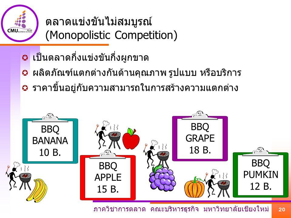 ภาควิชาการตลาด คณะบริหารธุรกิจ มหาวิทยาลัยเชียงใหม่ 20 BBQ BANANA 10 B. BBQ APPLE 15 B. BBQ PUMKIN 12 B. BBQ GRAPE 18 B. ตลาดแข่งขันไม่สมบูรณ์ (Monopo