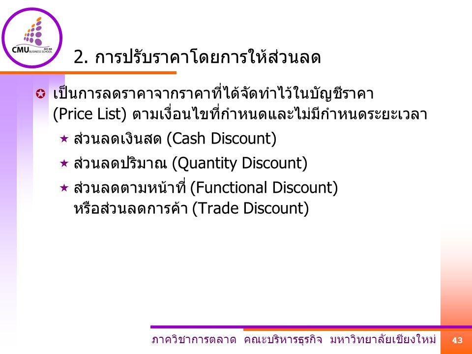 ภาควิชาการตลาด คณะบริหารธุรกิจ มหาวิทยาลัยเชียงใหม่ 43 2. การปรับราคาโดยการให้ส่วนลด  เป็นการลดราคาจากราคาที่ได้จัดทำไว้ในบัญชีราคา (Price List) ตามเ
