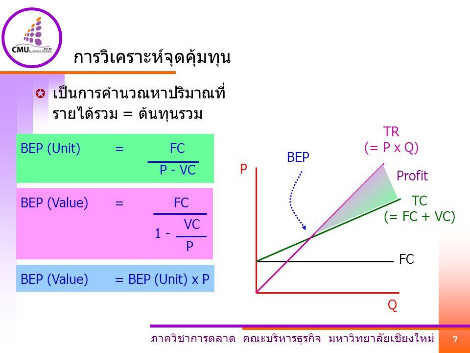 ภาควิชาการตลาด คณะบริหารธุรกิจ มหาวิทยาลัยเชียงใหม่ 7 P Q FC TC (= FC + VC) TR (= P x Q) BEP Profit การวิเคราะห์จุดคุ้มทุน  เป็นการคำนวณหาปริมาณที่ ร