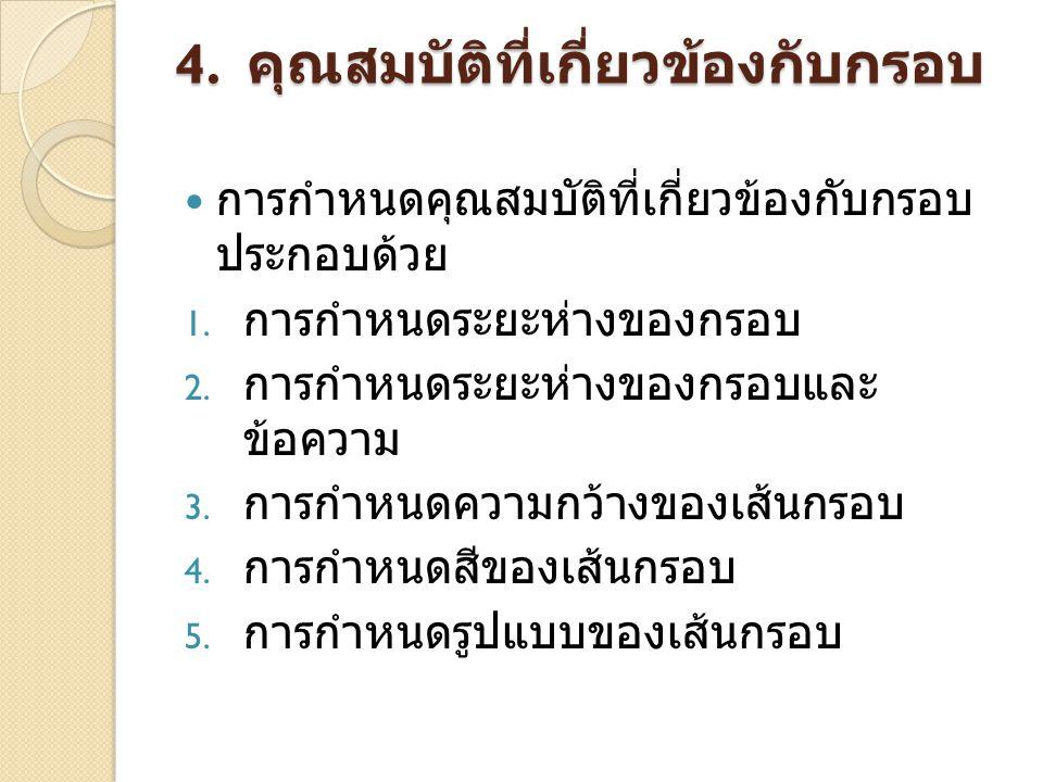 4. คุณสมบัติที่เกี่ยวข้องกับกรอบ การกำหนดคุณสมบัติที่เกี่ยวข้องกับกรอบ ประกอบด้วย 1. การกำหนดระยะห่างของกรอบ 2. การกำหนดระยะห่างของกรอบและ ข้อความ 3.