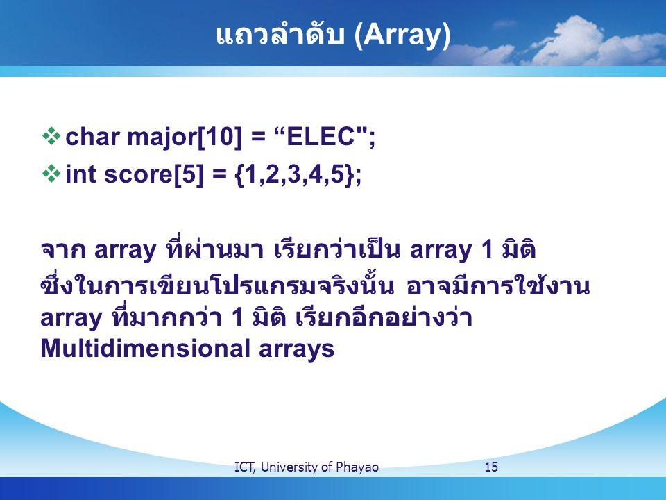 """แถวลำดับ (Array)  char major[10] = """"ELEC"""