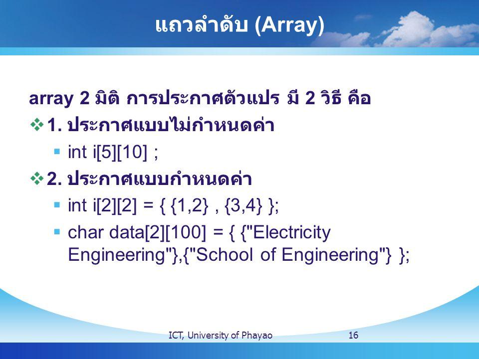 แถวลำดับ (Array) array 2 มิติ การประกาศตัวแปร มี 2 วิธี คือ  1. ประกาศแบบไม่กำหนดค่า  int i[5][10] ;  2. ประกาศแบบกำหนดค่า  int i[2][2] = { {1,2},