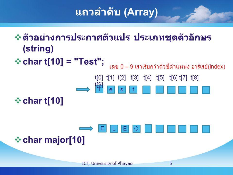 แถวลำดับ (Array)  ตัวอย่างการประกาศตัวแปร ประเภทชุดตัวอักษร (string)  char t[10] =