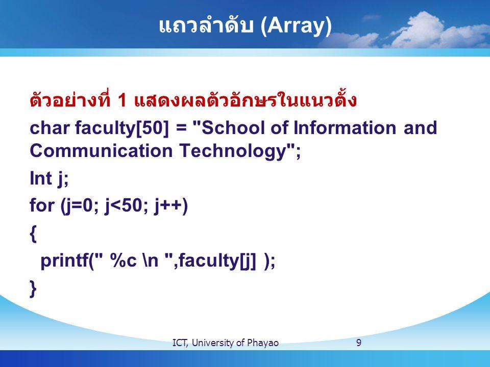 แถวลำดับ (Array) ตัวอย่างที่ 2 int i[5] = { 1,2,3,4,5 }; for (int j=0; j<5; j++) { printf( i[%d] = %d \n , j, i[j] ); // %d ตัวแรก คือ j และ %d ตัวที่สองคือแถวลำดับ ของ i ตัวที่ // นั่นคือ j(i[j]) } ICT, University of Phayao10