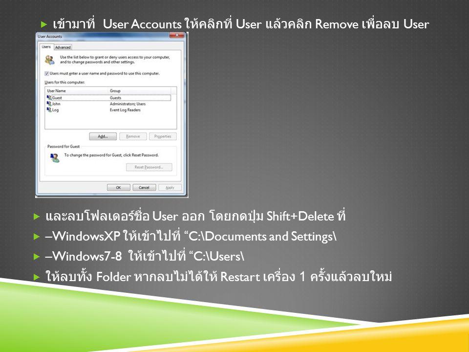  เข้ามาที่ User Accounts ให้คลิกที่ User แล้วคลิก Remove เพื่อลบ User  และลบโฟลเดอร์ชื่อ User ออก โดยกดปุ่ม Shift+Delete ที่  –WindowsXP ให้เข้าไปที่ C:\Documents and Settings\  –Windows7-8 ให้เข้าไปที่ C:\Users\  ให้ลบทั้ง Folder หากลบไม่ได้ให้ Restart เครื่อง 1 ครั้งแล้วลบใหม่