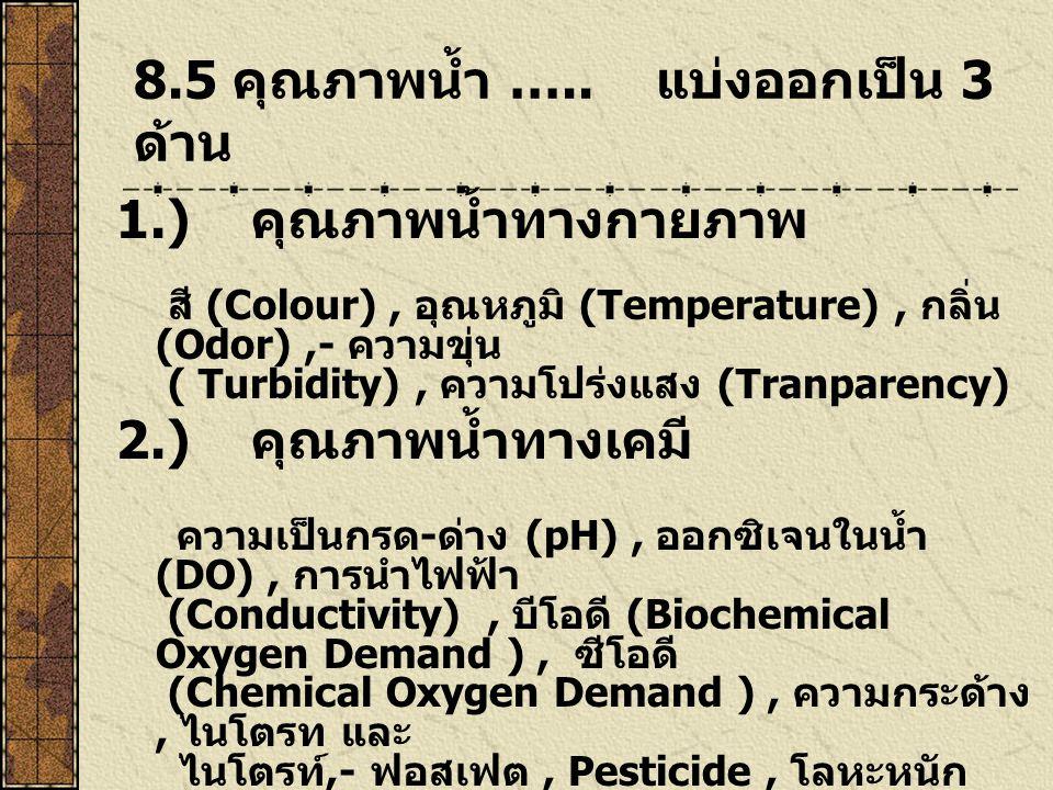 8.5 คุณภาพน้ำ ….. แบ่งออกเป็น 3 ด้าน 1.) คุณภาพน้ำทางกายภาพ สี (Colour), อุณหภูมิ (Temperature), กลิ่น (Odor),- ความขุ่น ( Turbidity), ความโปร่งแสง (T