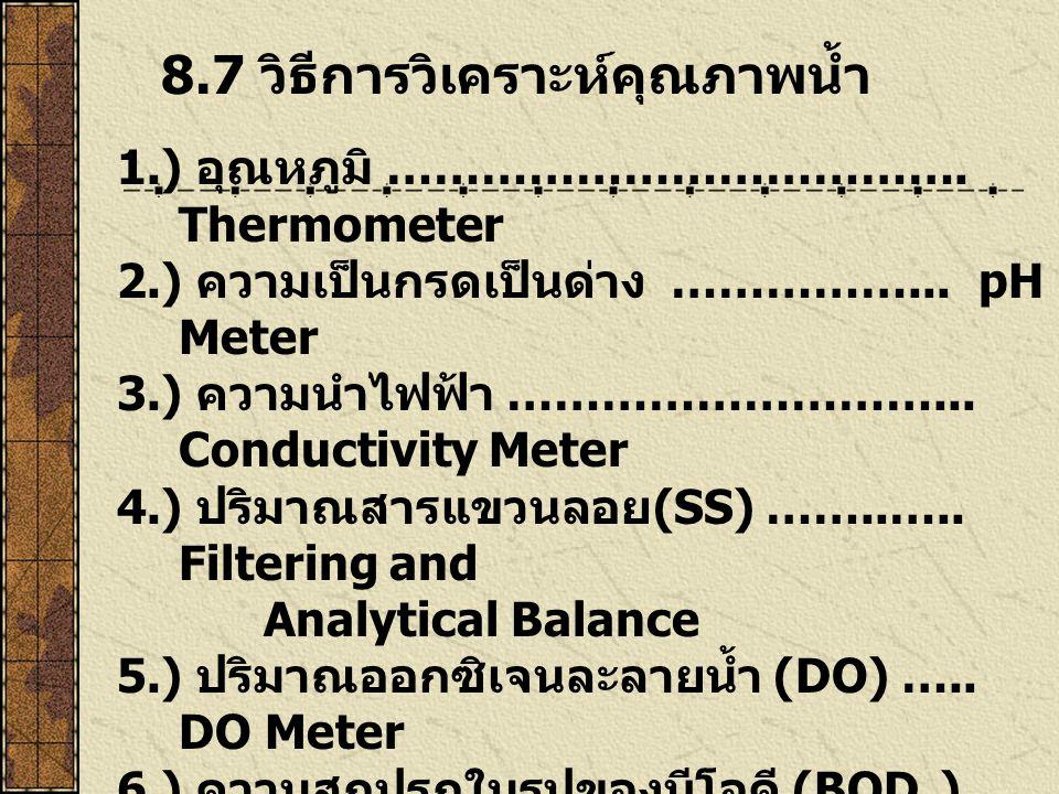 8.7 วิธีการวิเคราะห์คุณภาพน้ำ 1.) อุณหภูมิ ………………………………. Thermometer 2.) ความเป็นกรดเป็นด่าง ……………... pH Meter 3.) ความนำไฟฟ้า ………………………... Conductivi