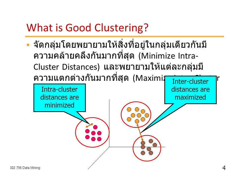 4 322 756 Data Mining What is Good Clustering?  จัดกลุ่มโดยพยายามให้สิ่งที่อยู่ในกลุ่มเดียวกันมี ความคล้ายคลึงกันมากที่สุด (Minimize Intra- Cluster D