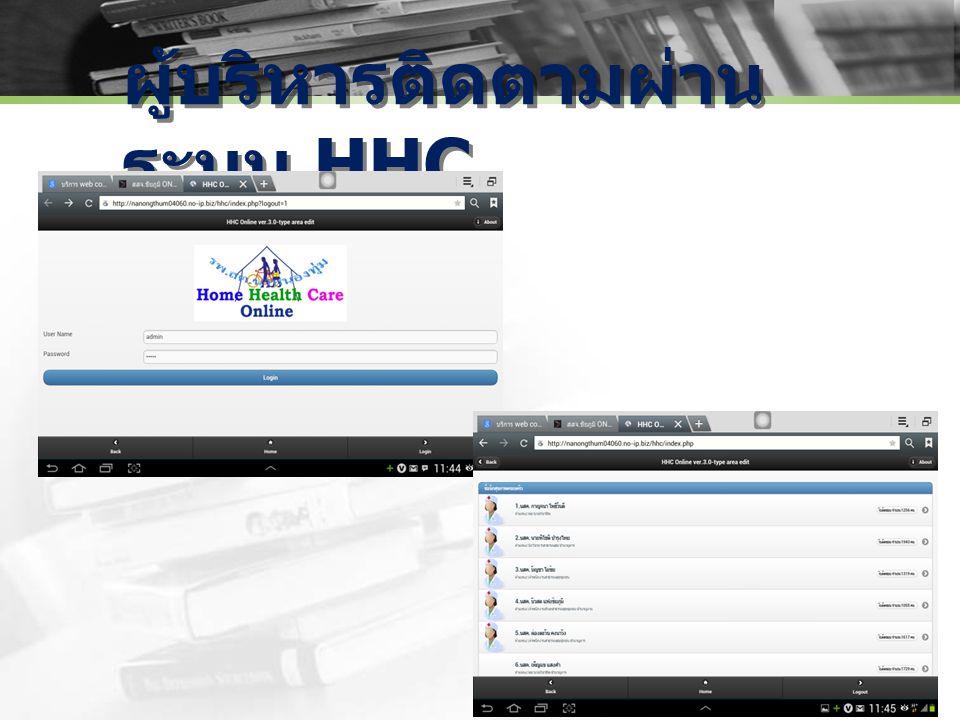 ผู้บริหารติดตามผ่าน ระบบ HHC
