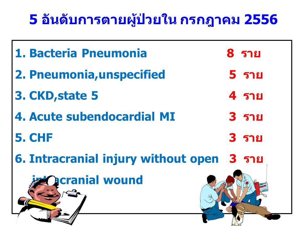 5 อันดับการตายผู้ป่วยนอก กรกฎาคม 2556 1.หัวใจหยุดเต้น 6 ราย 2.ติดเชื้อในกระแสเลือด 2 ราย 3.เลือดออกในเยื่อหุ้มสมอง 1 ราย 4.บั้งไฟระเบิดใส่ 1 ราย ตายทั้งหมด 10 ราย
