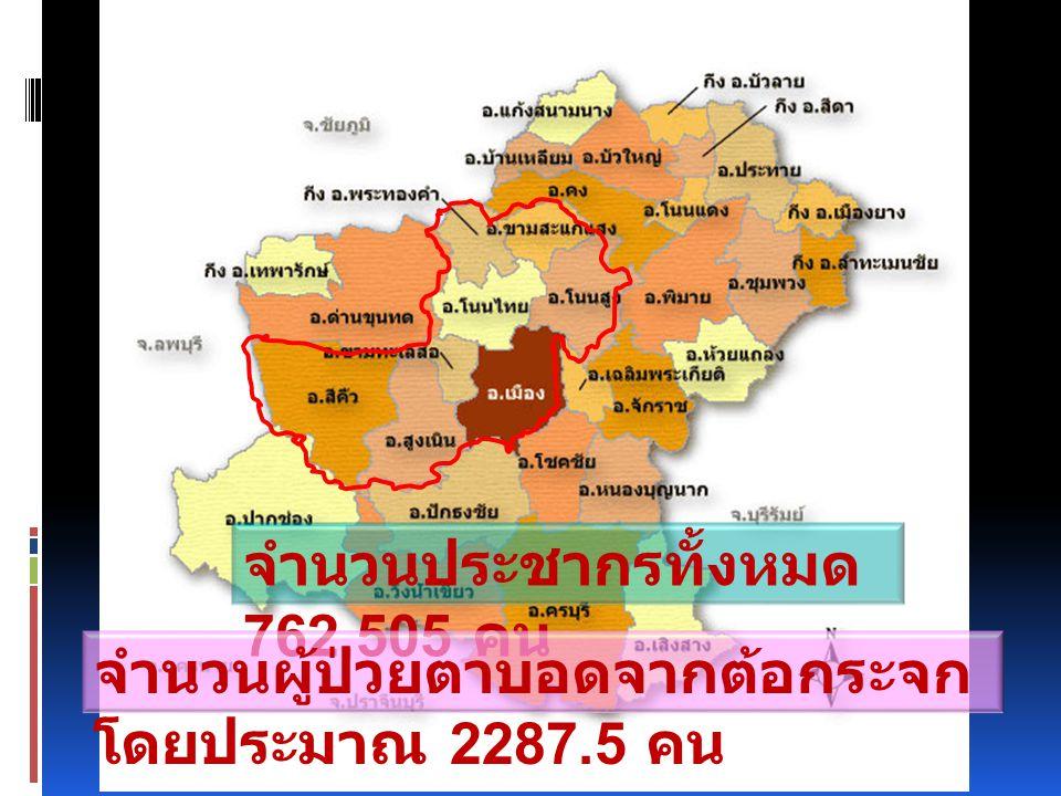 จำนวนประชากรทั้งหมด 762,505 คน จำนวนผู้ป่วยตาบอดจากต้อกระจก โดยประมาณ 2287.5 คน