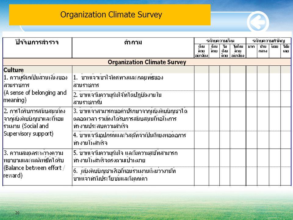 Organization Climate Survey 20