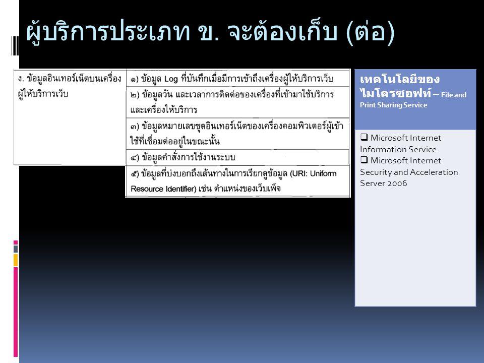ผู้บริการประเภท ข. จะต้องเก็บ ( ต่อ ) เทคโนโลยีของ ไมโครซอฟท์ – File and Print Sharing Service  Microsoft Internet Information Service  Microsoft In