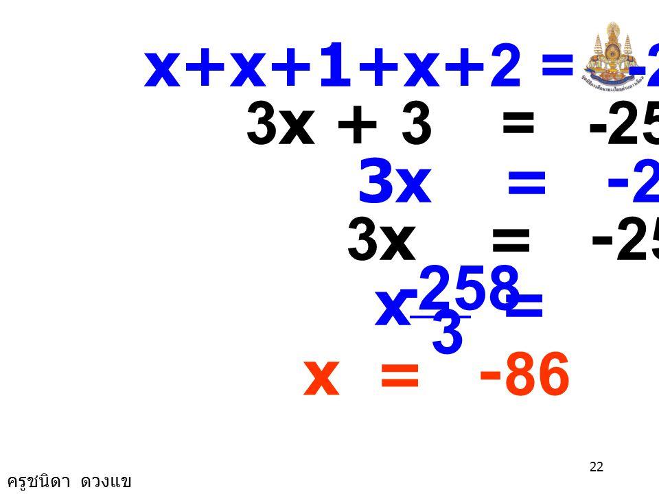 ครูชนิดา ดวงแข 21 1) จงหาจำนวนเต็มสามจำนวนที่ เรียงติดกันซึ่งมีผลบวกเป็น -255 วิธีทำ ให้ x แทนจำนวนเต็มจำนวนแรก จำนวนเต็มสามจำนวนที่เรียงติดกันคือ x, x+1 และ x+2 ผลบวกของจำนวนเต็มสามจำนวนที่ เรียงติดกันเป็น -255 จะได้สมการ x+(x+1)+(x+2) = -255
