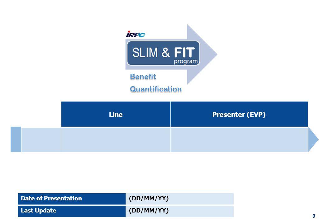 0 LinePresenter (EVP) Date of Presentation(DD/MM/YY) Last Update(DD/MM/YY) Benefit Quantification Benefit Quantification