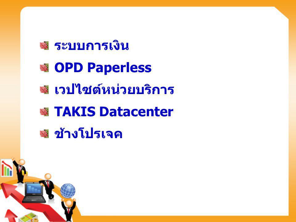 ระบบการเงิน OPD Paperless เวปไซต์หน่วยบริการ TAKIS Datacenter ช้างโปรเจค