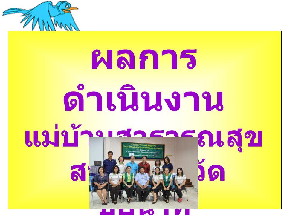 ผลการ ดำเนินงาน  โครงการสร้างสุข ผู้สูง วัย สุขภาพดี วิถีชุมชน จังหวัด ชัยนาท ปี 2557