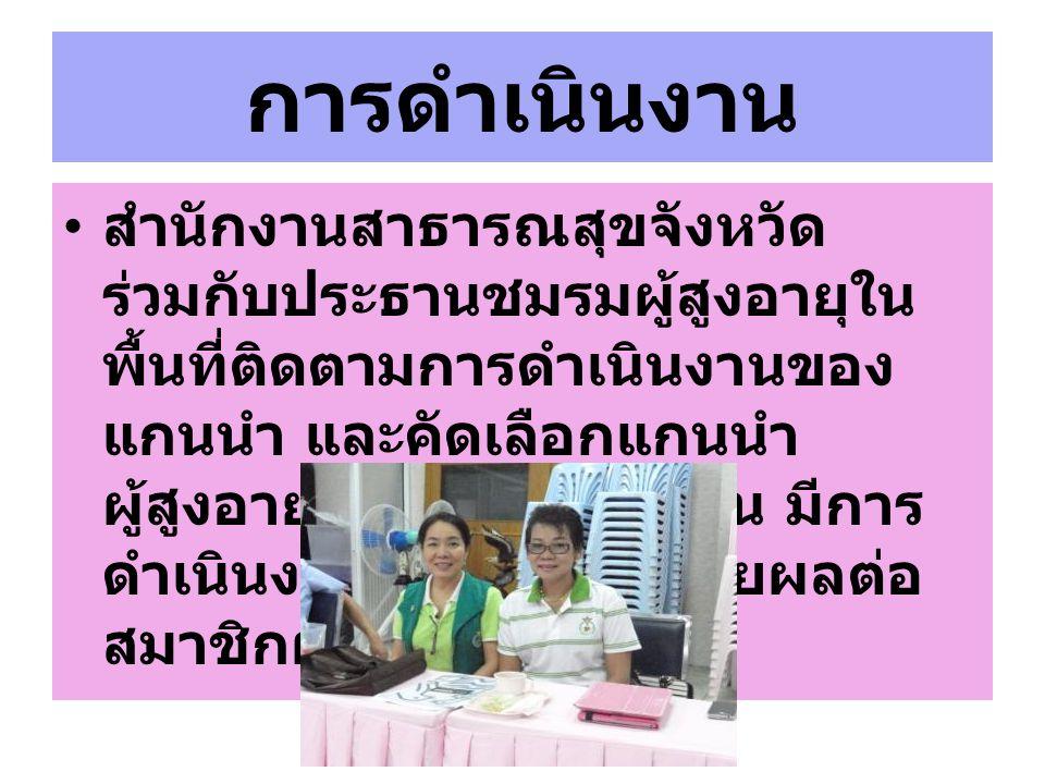 การดำเนินงาน สำนักงานสาธารณสุขจังหวัด ร่วมกับประธานชมรมผู้สูงอายุใน พื้นที่ติดตามการดำเนินงานของ แกนนำ และคัดเลือกแกนนำ ผู้สูงอายุ ที่มีจิตอาสาดีเด่น