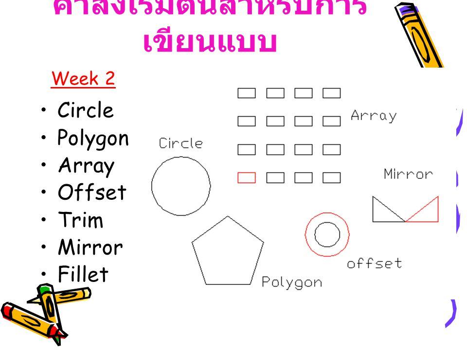 คำสั่งเริ่มต้นสำหรับการ เขียนแบบ Circle Polygon Array Offset Trim Mirror Fillet Week 2