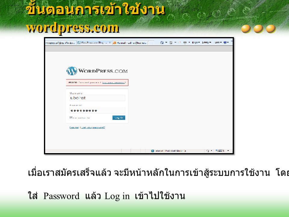 ขั้นตอนการเข้าใช้งาน wordpress.com เมื่อเราสมัครเสร็จแล้ว จะมีหน้าหลักในการเข้าสู้ระบบการใช้งาน โดยใส่ Username และ ใส่ Password แล้ว Log in เข้าไปใช้