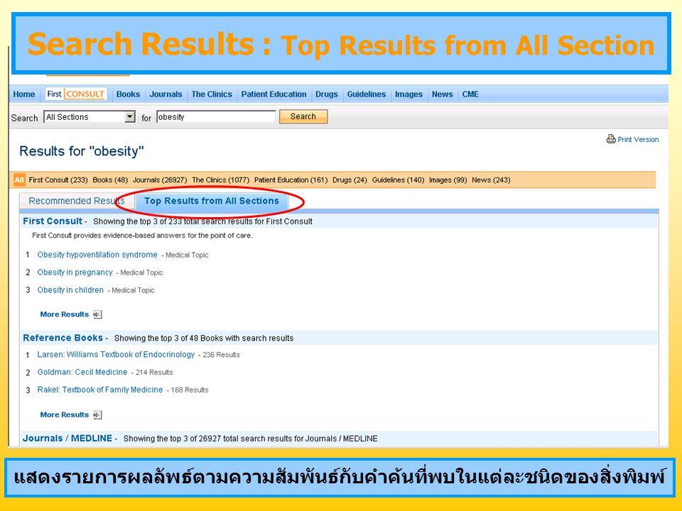 แสดงรายการผลลัพธ์ตามความสัมพันธ์กับคำค้นที่พบในแต่ละชนิดของสิ่งพิมพ์ Search Results : Top Results from All Section