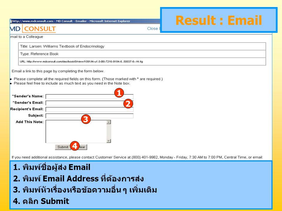Result : Email 1 2 3 4 1. พิมพ์ชื่อผู้ส่ง Email 2. พิมพ์ Email Address ที่ต้องการส่ง 3. พิมพ์หัวเรื่องหรือข้อความอื่น ๆ เพิ่มเติม 4. คลิก Submit